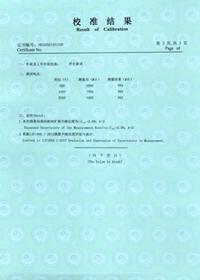 绝缘电阻测试仪校准结果页